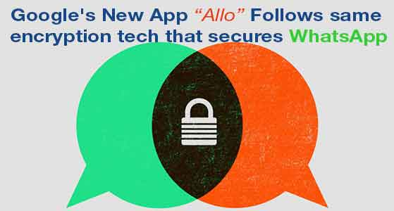 "Google's New App ""Allo"" Follows same encryption tech that secures WhatsApp"
