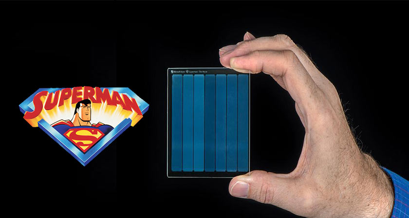 Researchers from project silica stored the movie superman on a piece of glass
